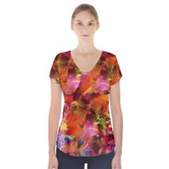 Abstract Acryl Art Short Sleeve Front Detail Top