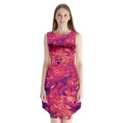 Abstract Acryl Art Sleeveless Chiffon Dress