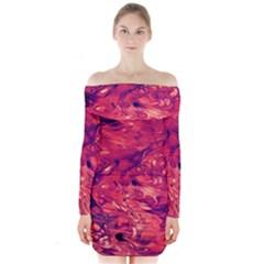 Abstract Acryl Art Long Sleeve Off Shoulder Dress