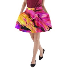 Abstract Acryl Art A Line Pocket Skirt
