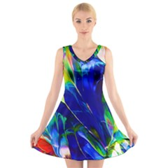 Abstract Acryl Art V Neck Sleeveless Skater Dress