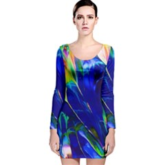 Abstract Acryl Art Long Sleeve Velvet Bodycon Dress