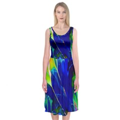Abstract Acryl Art Midi Sleeveless Dress
