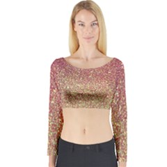 Rose Gold Sparkly Glitter Texture Pattern Long Sleeve Crop Top