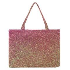 Rose Gold Sparkly Glitter Texture Pattern Zipper Medium Tote Bag