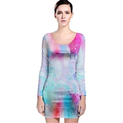 Pink And Purple Galaxy Watercolor Background  Long Sleeve Bodycon Dress