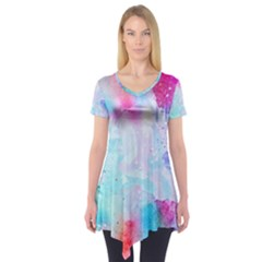 Pink And Purple Galaxy Watercolor Background  Short Sleeve Tunic