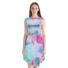 Pink And Purple Galaxy Watercolor Background  Sleeveless Chiffon Dress