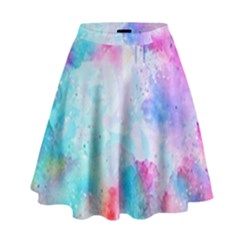 Pink And Purple Galaxy Watercolor Background  High Waist Skirt