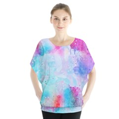 Pink And Purple Galaxy Watercolor Background  Blouse