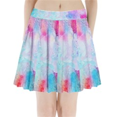 Pink And Purple Galaxy Watercolor Background  Pleated Mini Skirt