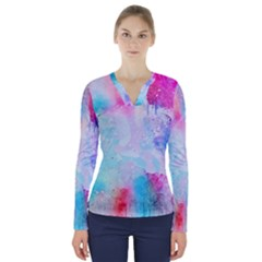 Pink And Purple Galaxy Watercolor Background  V Neck Long Sleeve Top