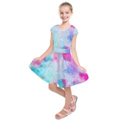 Pink And Purple Galaxy Watercolor Background  Kids  Short Sleeve Dress