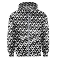 Black And White Waves Illusion Pattern Men s Zipper Hoodie