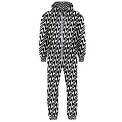 Black And White Waves Illusion Pattern Hooded Jumpsuit (men)