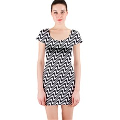Black And White Waves Illusion Pattern Short Sleeve Bodycon Dress
