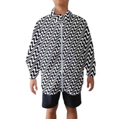 Black And White Waves Illusion Pattern Wind Breaker (kids)