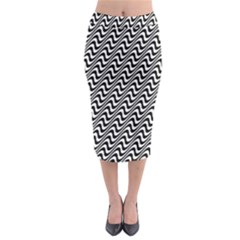 Black And White Waves Illusion Pattern Midi Pencil Skirt