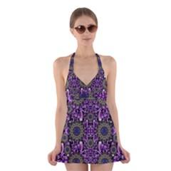 Flowers From Paradise In Fantasy Elegante Halter Dress Swimsuit