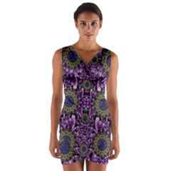 Flowers From Paradise In Fantasy Elegante Wrap Front Bodycon Dress