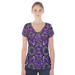 Flowers From Paradise In Fantasy Elegante Short Sleeve Front Detail Top
