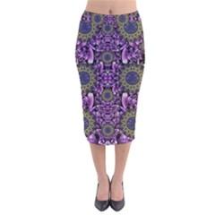 Flowers From Paradise In Fantasy Elegante Velvet Midi Pencil Skirt