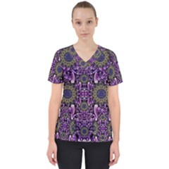 Flowers From Paradise In Fantasy Elegante Scrub Top