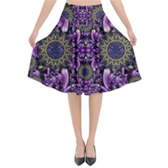 Flowers From Paradise In Fantasy Elegante Flared Midi Skirt