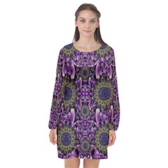 Flowers From Paradise In Fantasy Elegante Long Sleeve Chiffon Shift Dress