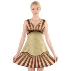 Art Deco Red V Neck Sleeveless Skater Dress