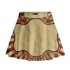 Art Deco Red Mini Flare Skirt