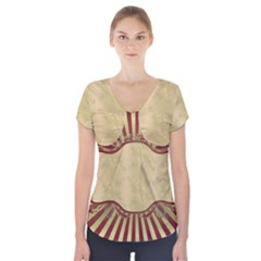 Art Deco Red Short Sleeve Front Detail Top