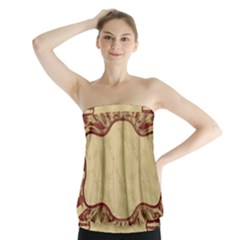 Art Deco Red Strapless Top