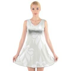 Fleur De Lis V Neck Sleeveless Skater Dress