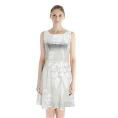 Fleur De Lis Sleeveless Waist Tie Chiffon Dress
