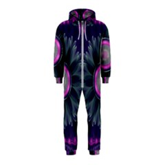 Beautiful Hot Pink And Gray Fractal Anemone Kisses Hooded Jumpsuit (kids)