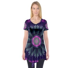 Beautiful Hot Pink And Gray Fractal Anemone Kisses Short Sleeve Tunic