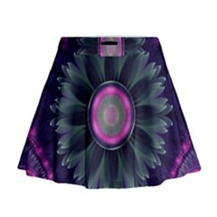 Beautiful Hot Pink And Gray Fractal Anemone Kisses Mini Flare Skirt