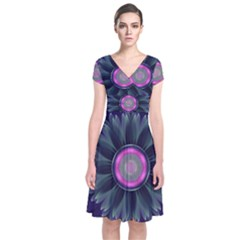 Beautiful Hot Pink And Gray Fractal Anemone Kisses Short Sleeve Front Wrap Dress