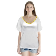 Vaccine  Story Mrtacpans V Neck Flutter Sleeve Top