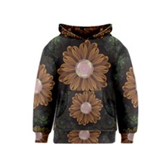 Abloom In Autumn Leaves With Faded Fractal Flowers Kids  Pullover Hoodie