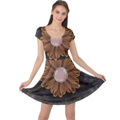 Abloom In Autumn Leaves With Faded Fractal Flowers Cap Sleeve Dress