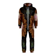 Abloom In Autumn Leaves With Faded Fractal Flowers Hooded Jumpsuit (kids)