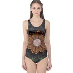 Abloom In Autumn Leaves With Faded Fractal Flowers One Piece Swimsuit