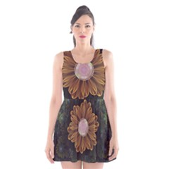 Abloom In Autumn Leaves With Faded Fractal Flowers Scoop Neck Skater Dress