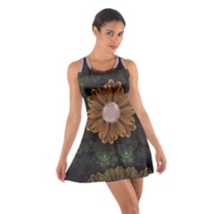 Abloom In Autumn Leaves With Faded Fractal Flowers Cotton Racerback Dress