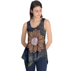 Abloom In Autumn Leaves With Faded Fractal Flowers Sleeveless Tunic