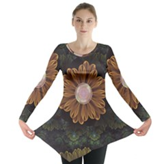 Abloom In Autumn Leaves With Faded Fractal Flowers Long Sleeve Tunic