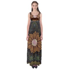 Abloom In Autumn Leaves With Faded Fractal Flowers Empire Waist Maxi Dress