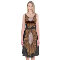 Abloom In Autumn Leaves With Faded Fractal Flowers Midi Sleeveless Dress